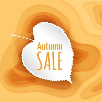 Oranje papier gesneden achtergrond herfst verkoop sjabloon voor spandoek met gele papier gesneden vormen