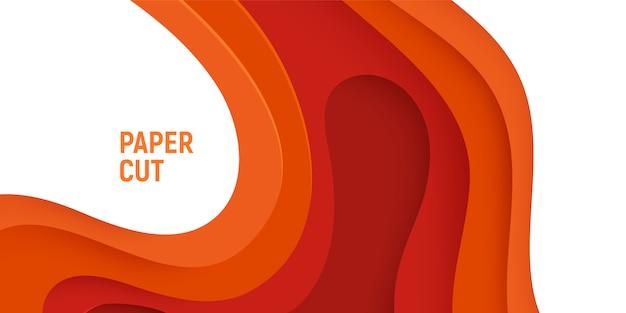 Oranje papier gesneden met 3d slijm abstracte achtergrond en oranje golven lagen.