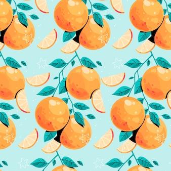 Oranje patroon op blauwe achtergrond