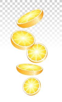 Oranje plakjes vallen