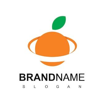 Oranje planeet logo ontwerp inspiratie