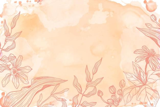 Oranje poeder pastel met hand getrokken bloemen achtergrond