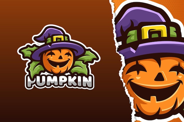 Oranje pompoen halloween mascotte logo sjabloon