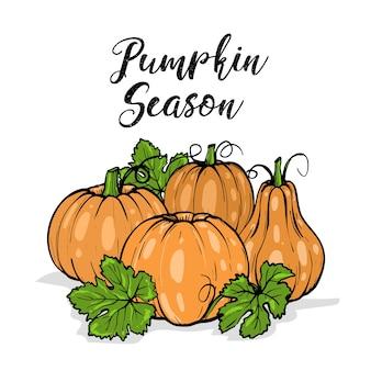 Oranje pompoenen voor halloween met groene bladeren en typografie, hand getrokken schets