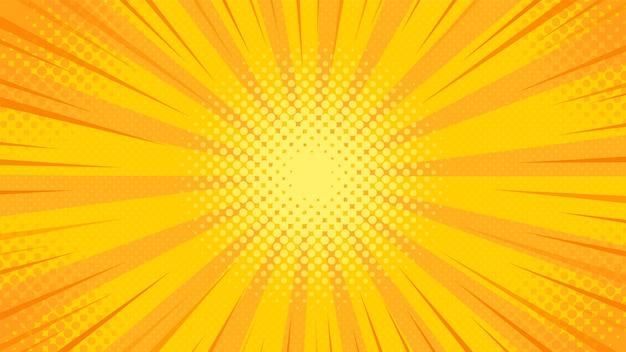 Oranje popart achtergrond. zonnestraal.