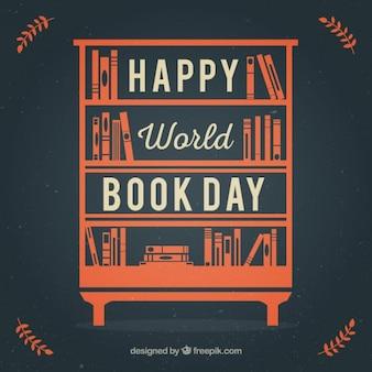 Oranje rekken met boeken in plat ontwerp