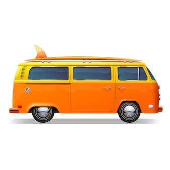 Oranje retro bus met surfplanken