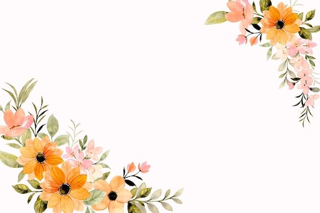 Oranje roze bloem frame achtergrond met aquarel