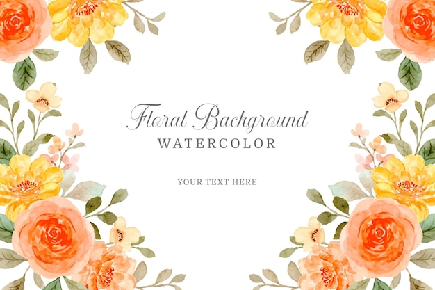 Oranje roze bloemachtergrond met waterverf