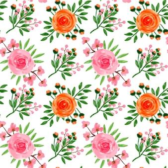 Oranje roze bloemen aquarel naadloos patroon