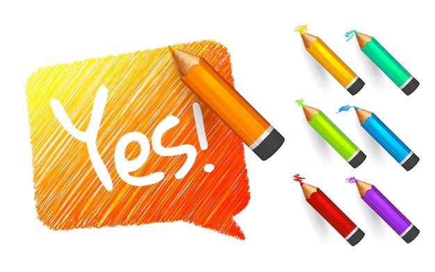 Oranje schets tekstballon getekend met cartoon kleur potloden