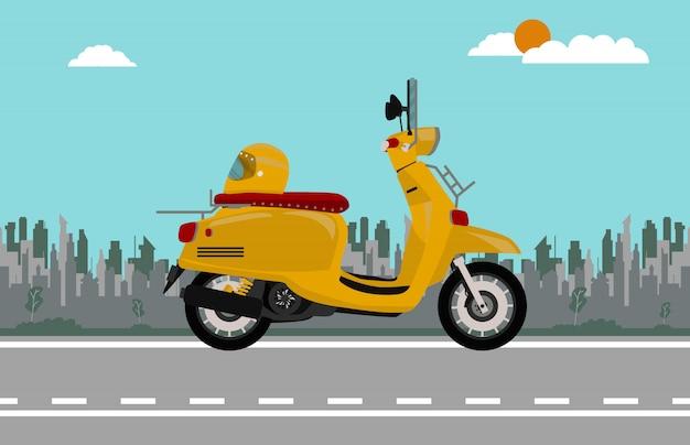 Oranje scooter fiets vintage stijl