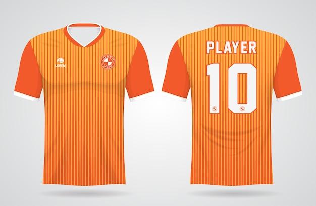 Oranje sportshirt sjabloon voor teamuniformen en voetbal t-shirtontwerp