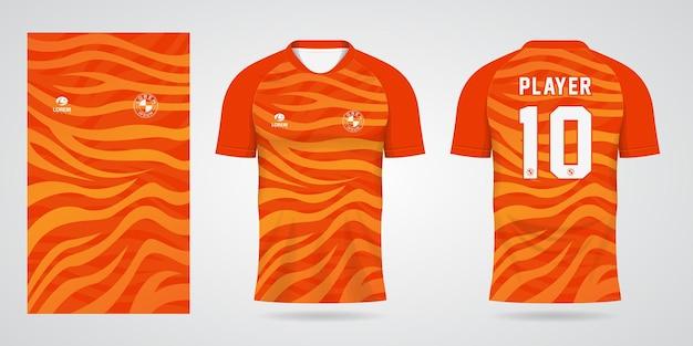 Oranje sporttrui-sjabloon voor teamuniformen en voetbalt-shirtontwerp