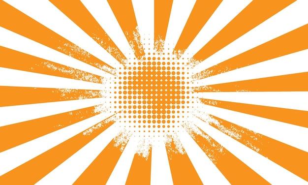 Oranje stijlvolle zonnestraal met halftoon gedetailleerde achtergrond