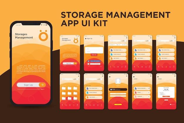 Oranje storage management app ui kit-sjabloon