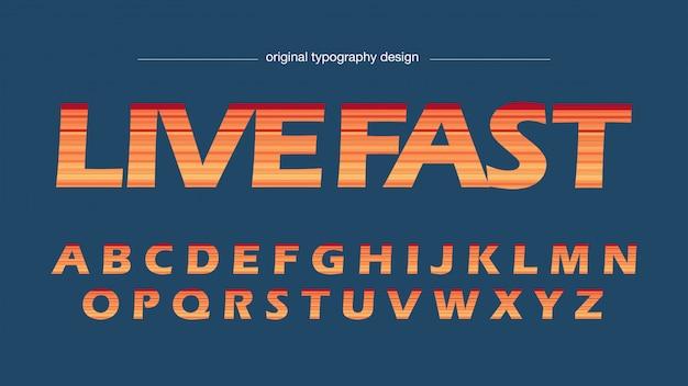Oranje strepen artistiek hoofdlettertype