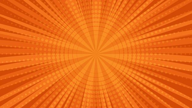 Oranje stripboekpagina-achtergrond in pop-artstijl met lege ruimte. sjabloon met stralen, stippen en halftone effect textuur. vector illustratie