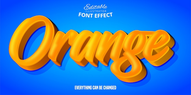Oranje tekst, 3d bewerkbaar lettertype-effect