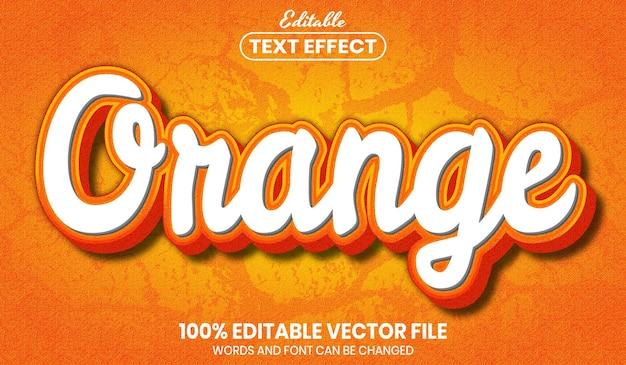 Oranje tekst, bewerkbaar teksteffect in lettertypestijl