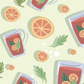 Oranje thee drinken patroon