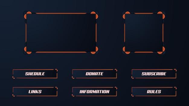 Oranje twitch-streamerpaneel-overlayset