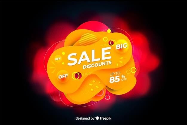 Oranje verkoopachtergrond met vloeibaar effect