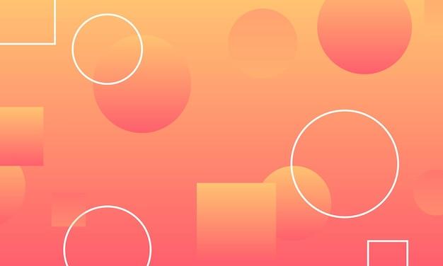 Oranje verloop met cirkels en rechthoeken vorm achtergrond. elegant ontwerp voor wallpapers.