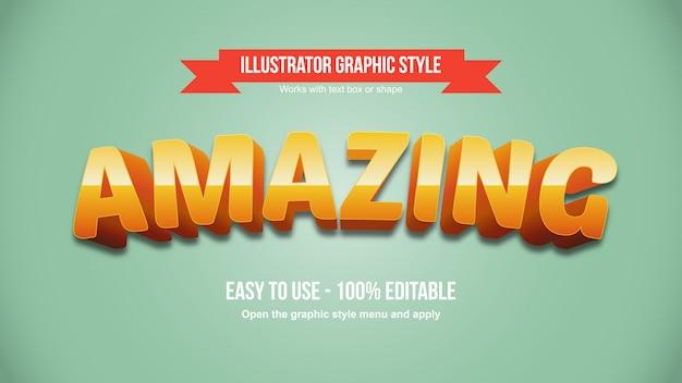 Oranje vet cartoon gebogen typografie grafische stijl