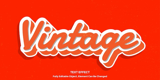 Oranje vintage stijl teksteffect