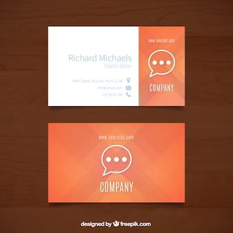 Oranje visitekaartje met tekstballon