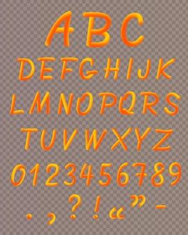 Oranje vloeibaar neon lettertype