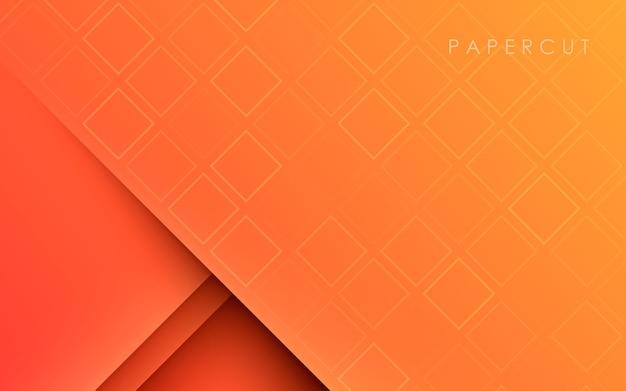 Oranje vloeiende kleurovergang textuur papercut achtergrond