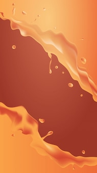 Oranje vloeistof splash realistische druppels en spatten vruchtensap spatten verticaal
