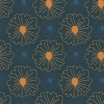 Oranje voorgevormde bloemen naadloze patroon op donkerblauwe achtergrond. eenvoudige botanische achtergrond.