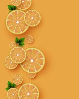 Oranje vruchten achtergrond. gesneden oranje stukjes met bladeren. vector illustratie.