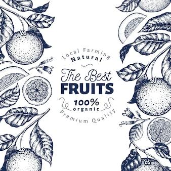 Oranje vruchten in blauw