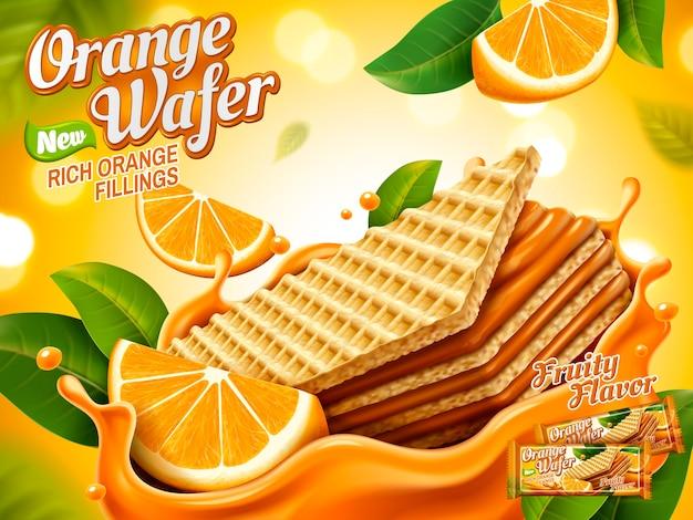 Oranje wafel advertenties illustratie