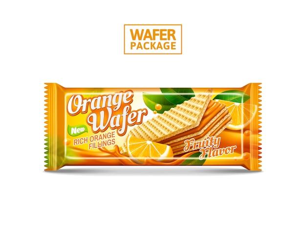 Oranje wafel pakket ontwerp illustratie