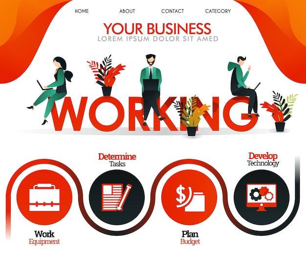 Oranje websiteillustratie over werken