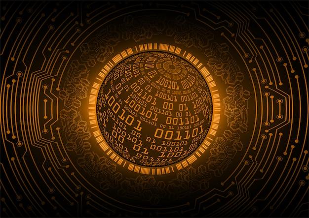 Oranje wereld cyber circuit technologie toekomst achtergrond