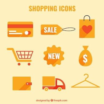 Oranje winkelen pictogrammen