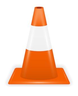 Oranje witte verkeerskegel op witte achtergrond