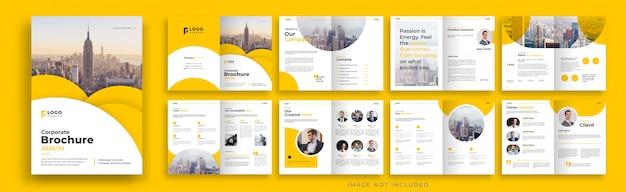 Oranje zakelijke brochure sjabloonontwerp met meerdere pagina's
