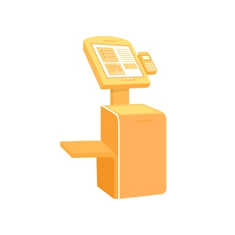 Oranje zelfbedieningskiosk egaal kleurobject. apparaat voor informatie en aankoop. automatisch afrekenen. terminal geïsoleerde cartoon afbeelding voor web grafisch ontwerp en animatie
