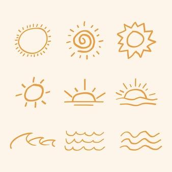 Oranje zomer zonsondergang vector sticker schattig doodle set