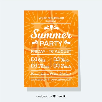 Oranje zomerfestival poster vlakke stijl