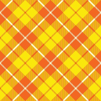Oranjegele tartan stof textuur diagonaal kleine patroon naadloos