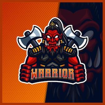 Orc viking gladiator mascotte esport logo illustraties sjabloon, orc met bijl cartoon stijl