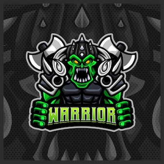 Orc viking gladiator warrior mascot esport logo ontwerp illustraties sjabloon, cartoon stijl